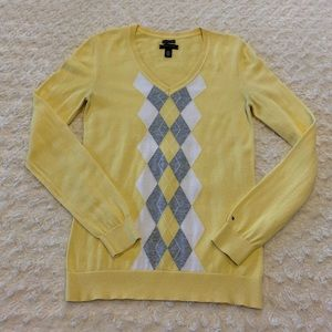 Tommy Hilfiger lightweight yellow argyle sweater